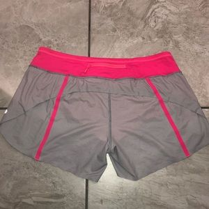 Lululemon Run: Speed Short grey stripe/pink Sz 10